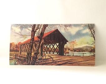 "Vintage ""Lattice Bridge"" Litho Art by Murray"