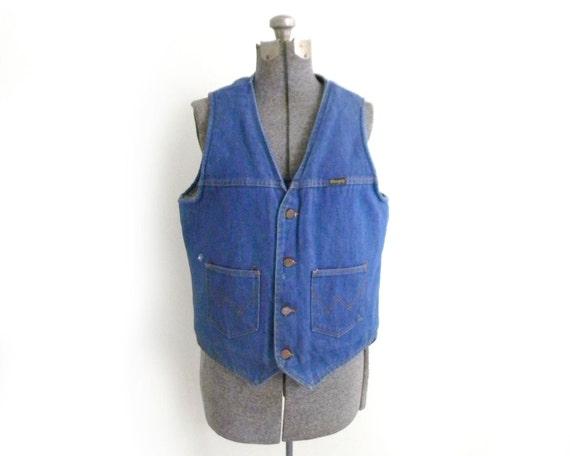 Vintage Wrangler  Denim & Shearling Button Up Vest