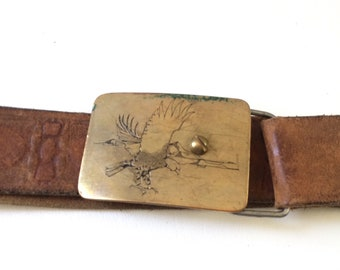 Vintage Brown Leather Belt with Etched Brass Eagle Buckle
