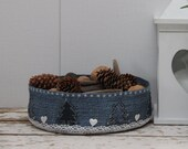 Denim Basket With Christmas Tree Oraments And Lace , Winter Ornament , Christmas basket , Christmas Table Decor , Fabric Container , Storage