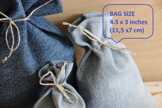 Goody bags Wedding favor bags Lot of 100 Recycled denim wedding bags Small Gift Bags Treat bags Denim party bags Jewelry pouch