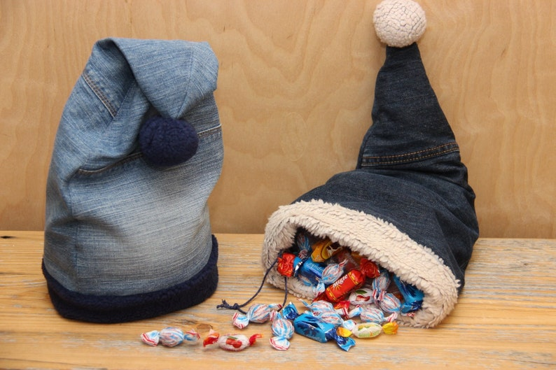 826098bf3f Recycled Denim Santa Hat Christmas Hat Unique Christmas