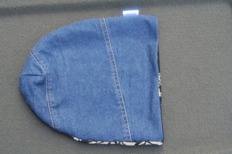 denim beanie hat recycled upcycled denim yoga hat winter beanie casual hats Denim hat slouch beanie Jean hat hipster hat