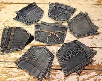 14 Pieces Jeans Back Pockets , Sewing Applique , Pockets to Repurpose Denim , DIY , Mix Reclaimed Jeans Pockets , Denim Craft , Jean Scraps