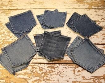 12 Reclaimed Jeans Back Pockets , Pockets to Repurpose Jeans , Carpet making component , Purse making , Denim Craft , Rug making component