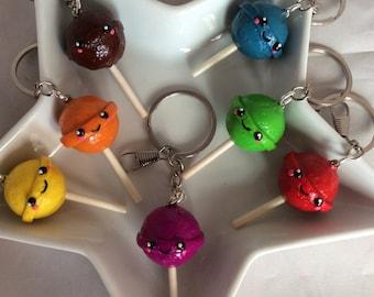 Kawaii style polymer clay lollipop keyring, keychain, bag charm.