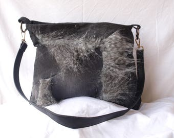 recycled black denim and faux fur bag