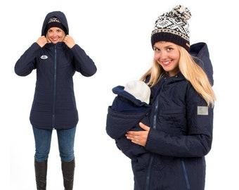 Babywearing jacket winter warm maternity coat quilted 3 in 1 fleece certified eco tex in navy NEVADA