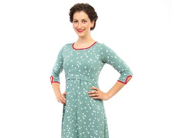 66d8db7b57f1e Maternity dress pregnant nursing mums special occasions dresses in mint  with swifts, MILLA