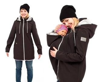 b08f8a5786c20 Babywearing coat, softshell baby carrying jacket, babywearing jacket, coats  for mom and newborn, new mama gifts, Vivala Mama, black, MELLORY