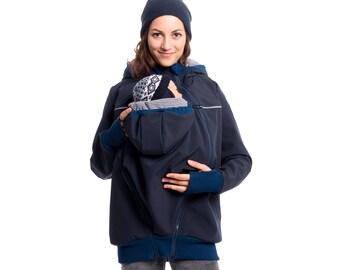 4de69dc0a7d5c Outdoor jacket, softshell baby carrying coat, babywearing jacket,  allweather baby carrier jacket, maternity jacket, Vivala Mama, navy, Jacky