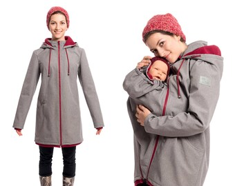 7bffb82f02f07 Softshell allweather coat for maternity and baby wearing in gray bordeaux,  MELLORY