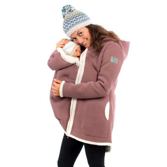 Jacke mit Babyeinsatz Winterfleece Umstandsmantel in cappuccino natur ARCTICA