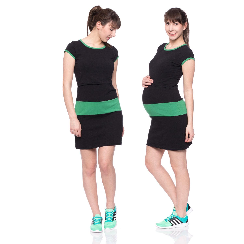 Kurzärmliges sportliches Umstandskleid Stillkleid Kleid für