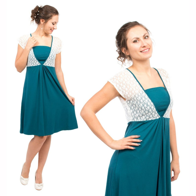 ff69c360bb277 Festive maternity nursing dress with white lace top in petrol   Etsy