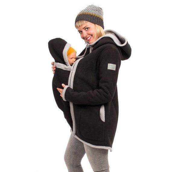 Jacke mit Babyeinsatz Winterfleece Umstandsmantel in schwarz grau ARCTICA
