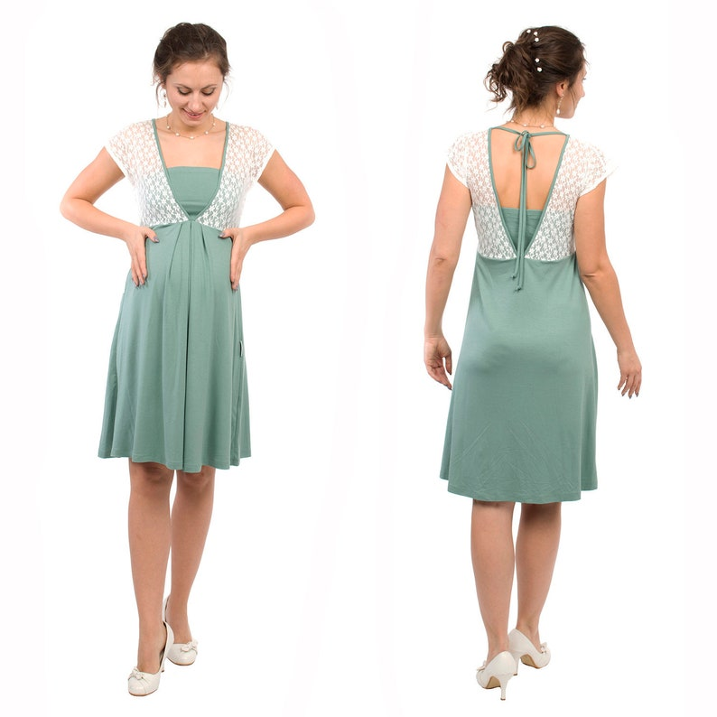 a5466602c0 Festive maternity nursing dress with lace top in mint