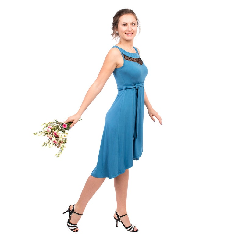 40599aaf77b6c Festive empire maternity nursing dress blue with black lace | Etsy