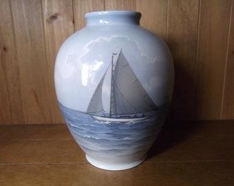 Large Bing and Grondahl Sailing Boat Vase
