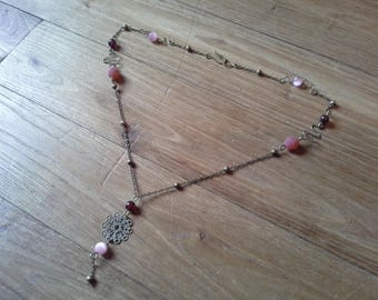 Handmade bronze and Garnet necklace