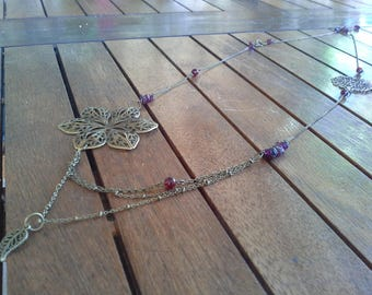 Burgundy and bronze necklace with Garnet