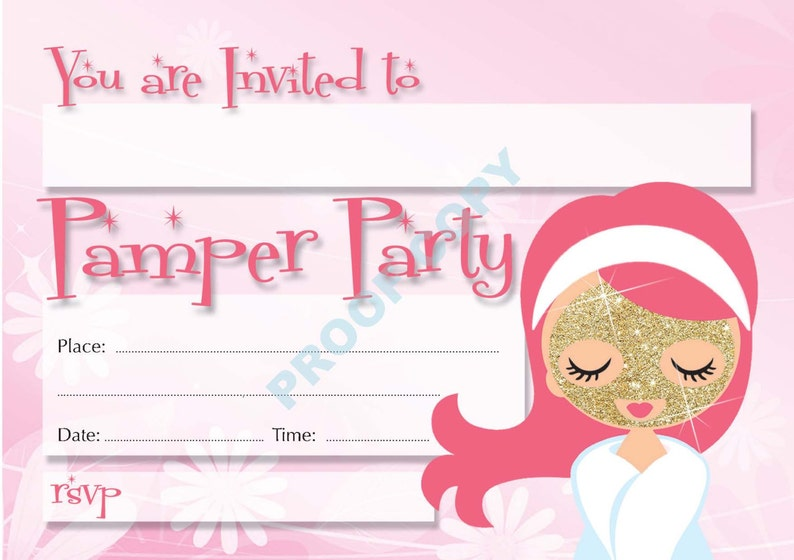PAMPER PARTY INVITATIONS Kids Party Glamour Invites