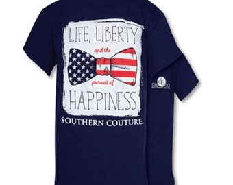 Southern Couture Navy American Liberty Bow, Simply Southern Style T-Shirt