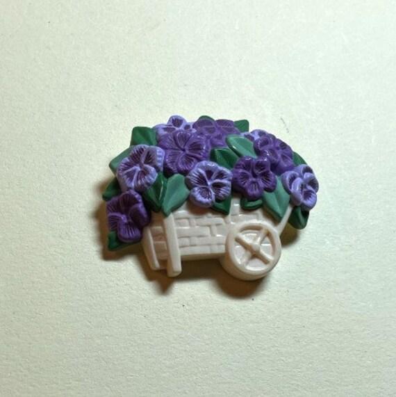 Vintage Hallmark spring flower brooch, plastic wit