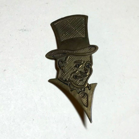 Modernist Copper Pin Set of a Man with Top Hat and Woman with Hat c.1950s