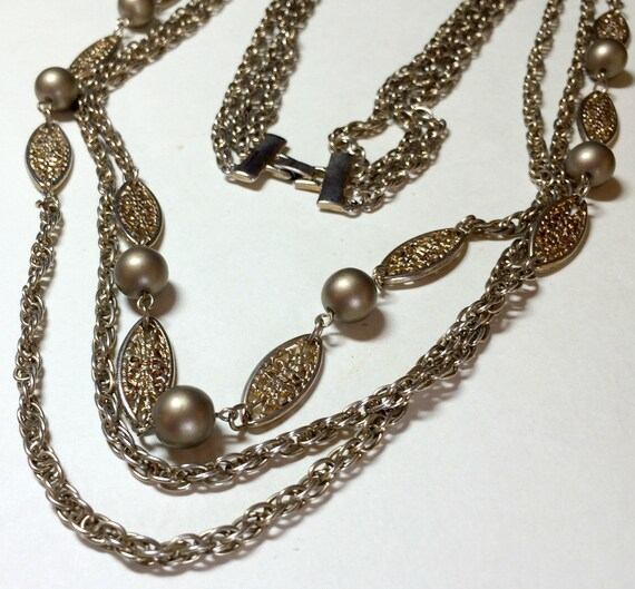 Gold Chains For Sale >> Vintage 3 Chain Necklace 28 Inches On Sale Gold Chain Necklace Mutli Strand Chain Necklace Multichain Necklace Fancy Necklace 1960s