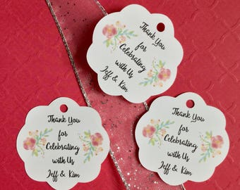 8 Scalloped Wedding Tags - Thank You Tags - Bridal Shower Wedding Favor Tags -Bridal Shower Favors Wedding Favors -Personalized Gift Tags