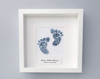 Baby frame, Personalised new baby gift, Baby footprints, Nursery decor, New baby gift, Baby shower, Christening gift, Personalised frame