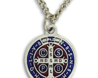 Saint Benedict Medal and Chain. St Benedict Medal. Saint Benedict Cross. Saint Benedict Necklace. St. Benedict Pendant.