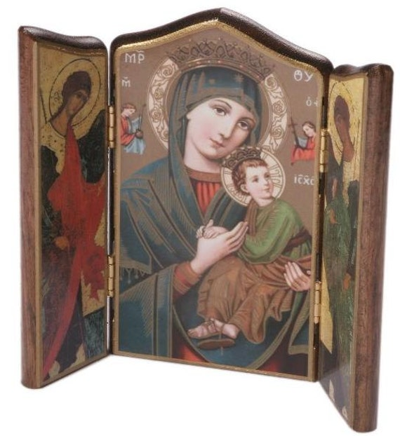 """MARY OUR LADY OF PERPETUAL HELP 7/"""" WOOD WOODEN ICON CROSS CRUCIFIX"""