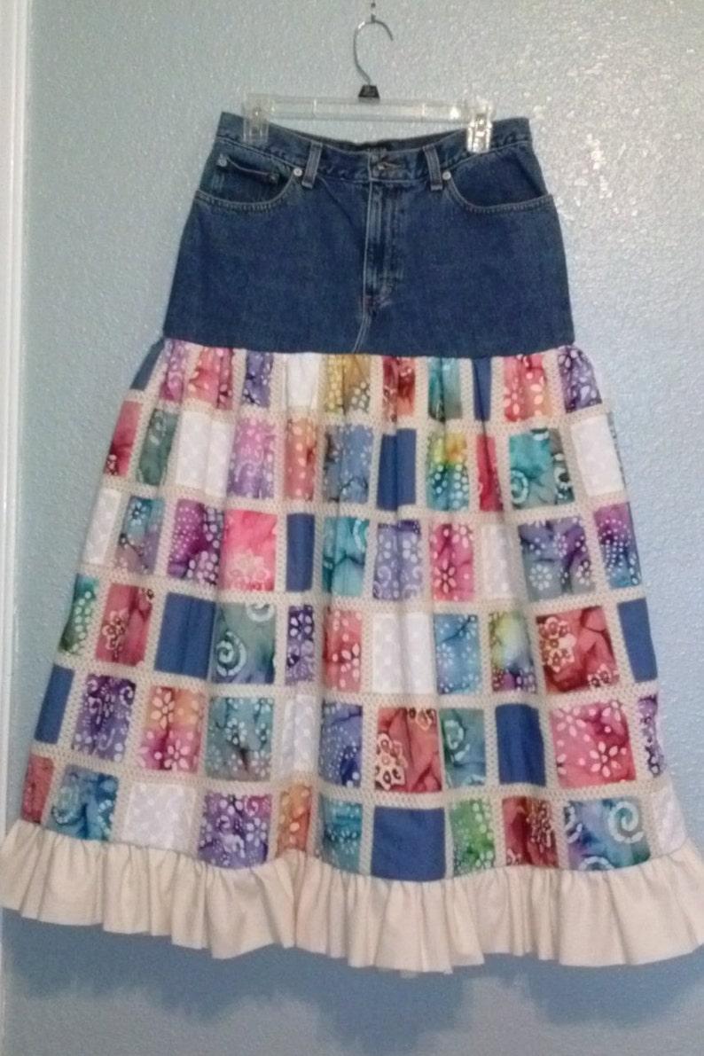 ec0e56ba0 Reciclado del dril de algodón patchwork boho, falda, falda romántica, de  longitud media, tamaño 8 cintura 30