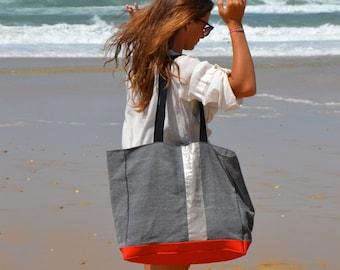 Large Beach Bag Gray Cotton Linen Blend Red Faux Leather Bottom Large Tote Bag Woman Weekender Bag Vegan Tote Bag  Gym Bag Woman Laptop Bag