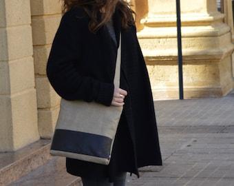Linen Leather Bag Crossbody Handbag Linen Leather Crossbody Bag Woman Crossbody Shoulder Day Bag Handmade Boho Chic Purse