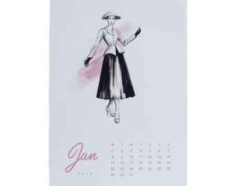 Vintage fashion calendar 2018, A5 desk calendar, fashion illustration, Dior, french fashion