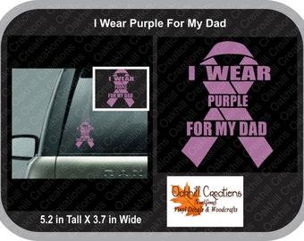 I Wear Purple for My Mom - Pancreatic Cancer Awareness Window Decal Sticker