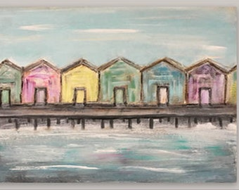 Fine art print, boardwalk painting, giclee print, colorful houses, beach homes, woodscape art