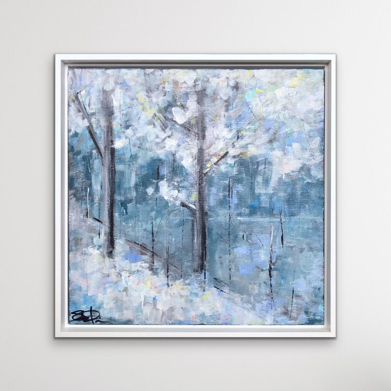 Snow Painting Winter Landscape Abstract Art Original image 0