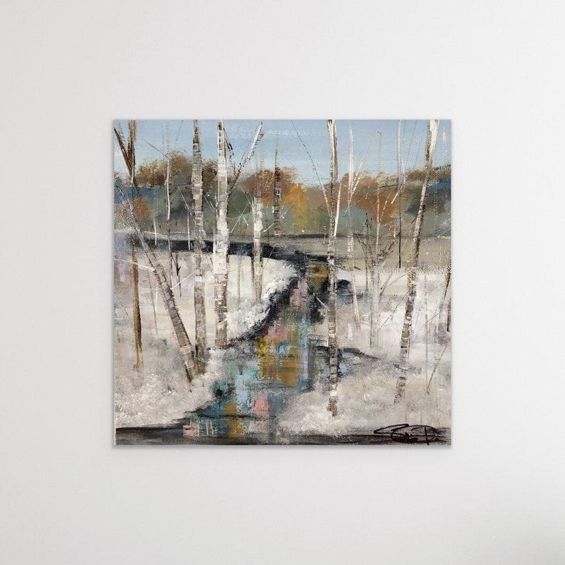 Winter Landscape Birch Tree Painting Winter Painting Snow image 0
