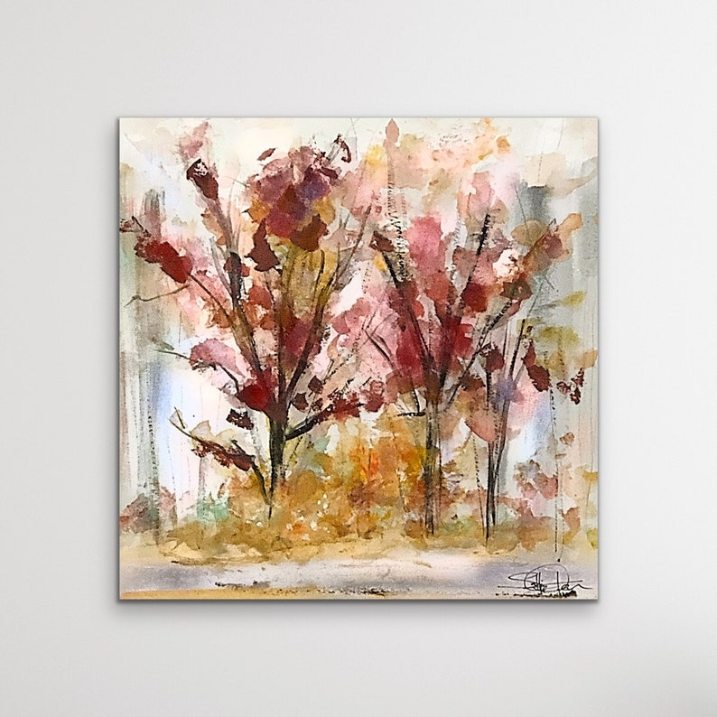 Abstract Landscape Metal Wall Art Fall Landscape Wood Wall image 0