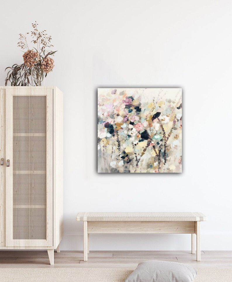 Wild Flowers Floral Abstract Painting Metal Art Art on image 0