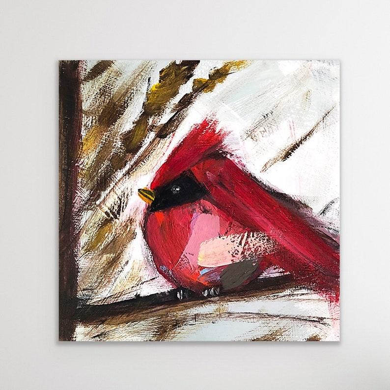 Red Cardinal Cardinal Art Cardinal Print Bird Painting image 0