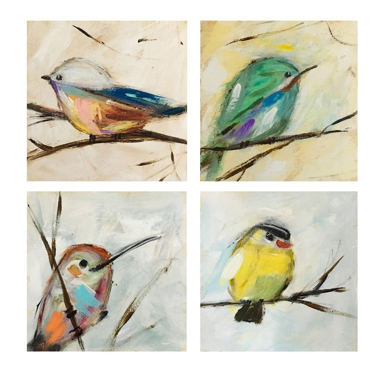Hummingbird Yellow Bird Bird Art Bird Print Set Set of 4 image 0
