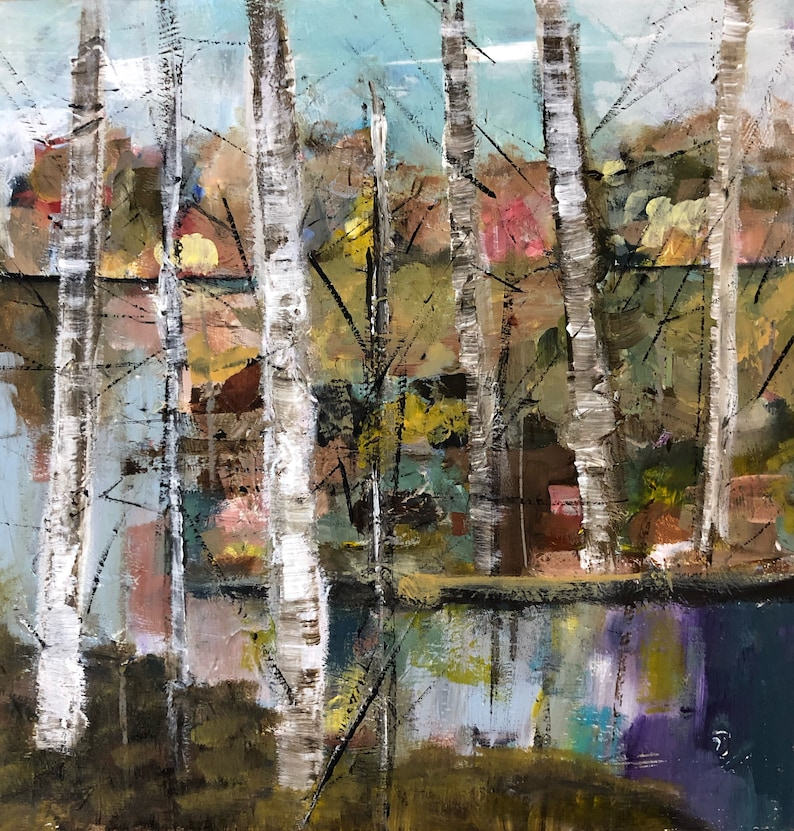 Birch Trees Birch Tree Painting Landscape Painting Giclee image 0