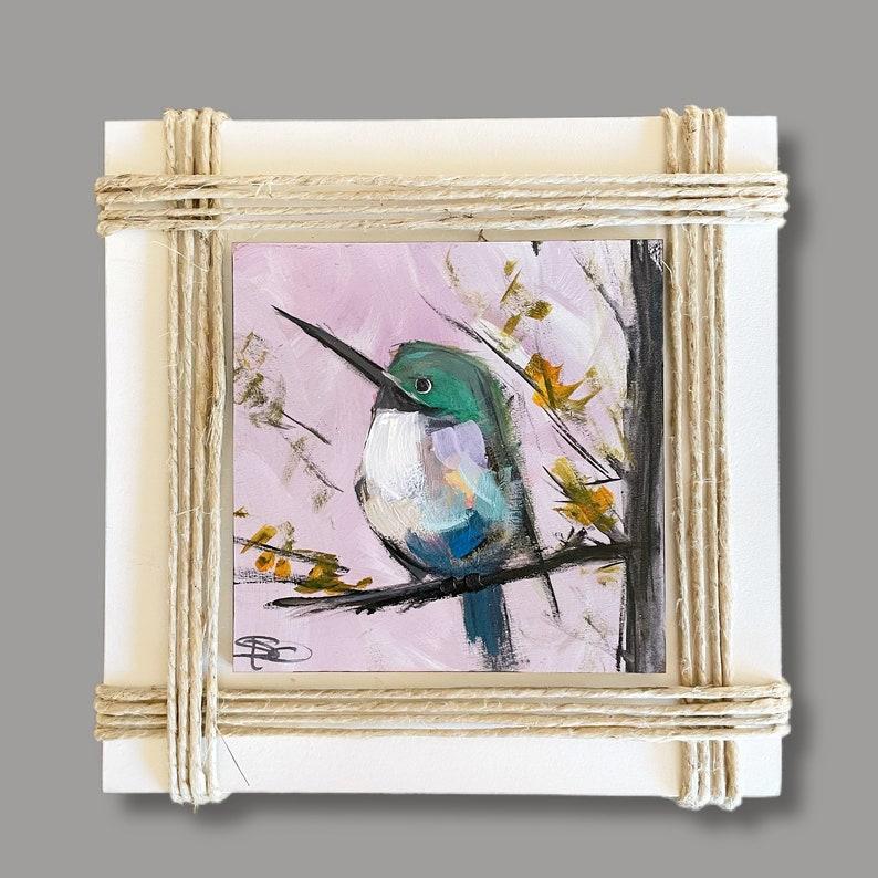 Hummingbird mini art Original Art on Wood Wood Wall Art image 0