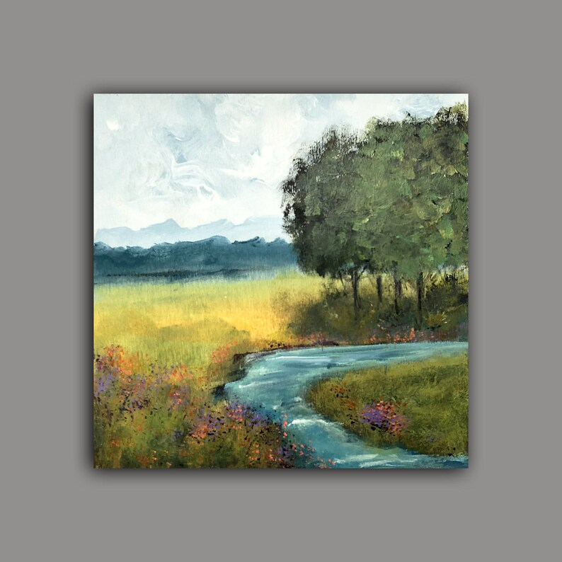 Abstract Landscape River Painting Plein Air Mountains and image 0