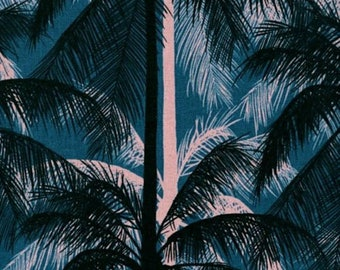 Cotton + Steel- Poolside- CANVAS Palms- Blue- Melody Miller, Alexia Abegg